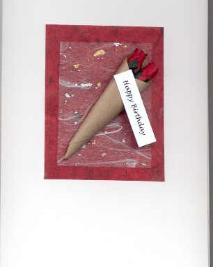 Handmade Happy Birthday Card with Red Rose